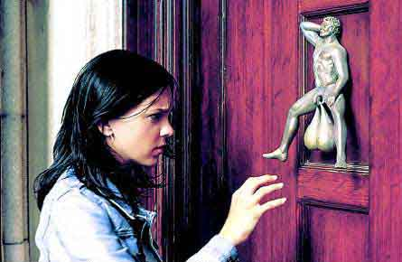 Girl Reaching for a Knocker